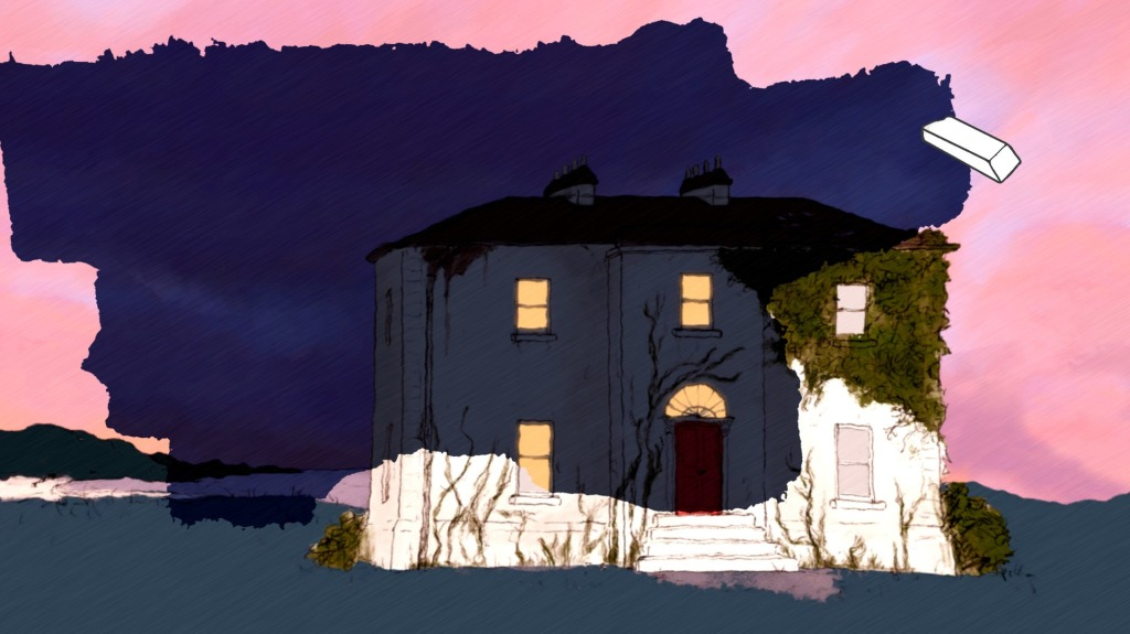 If Found. An eraser on screen peels away sunset into nightfall on an old, decrepit house covered in vines and moss.
