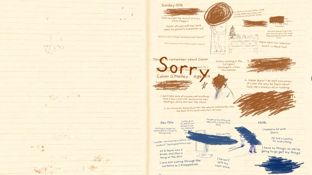 If Found. A journal page, with significant sections scratched out or marked over. You can clearly read the dates Sunday 12th, Dec 13th, and 14th, the name Colum O'Malley, and the word Sorry.