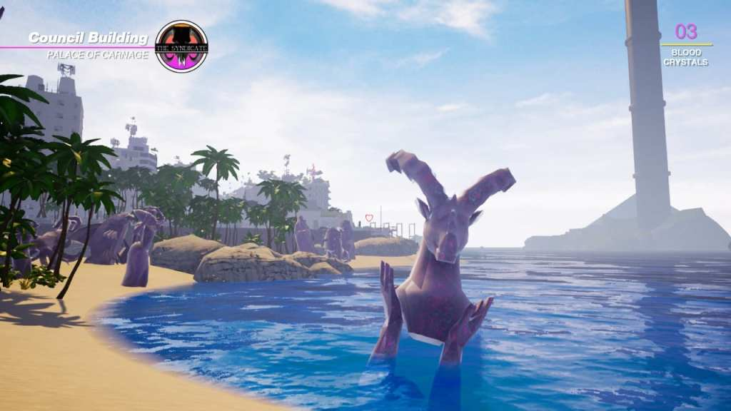 Paradise Killer. A beach coastline with apartment complexes and a tall spire in the background. Statues of purple marble depict goat heads and other pagan iconography.