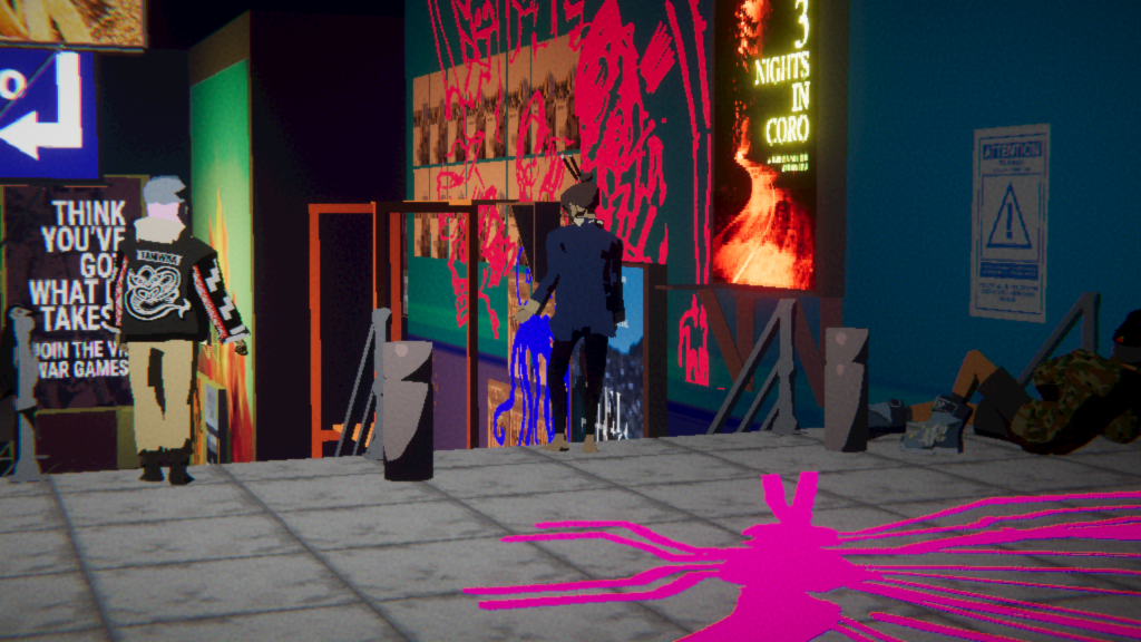 Screenshot from late in Umurangi Generation. Graffiti in a public mall, with a recruitment poster in the background.